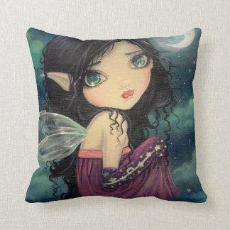 Little Moon Big-Eye Fairy Fantasy Art Throw Pillow