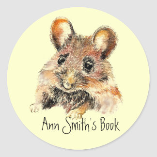 Little Mouse Book Plate to Customize Classic Round Sticker