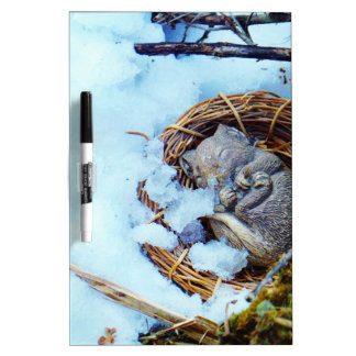 Little mouse sleeping in the snow Dry-Erase boards