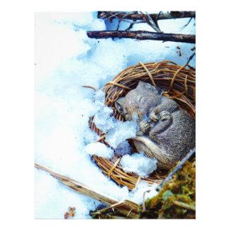 Little mouse sleeping in the snow custom letterhead