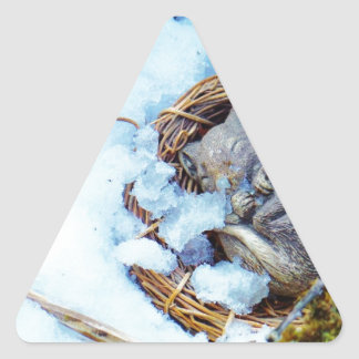 Little mouse sleeping in the snow triangle sticker