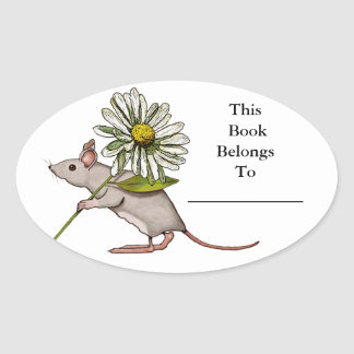 Little Mouse With Big Daisy Flower: Book Plate Oval Sticker