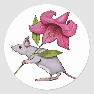 Little Mouse With Big Flower: Lily, Art Classic Round Sticker
