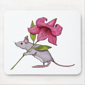 Little Mouse With Big Flower: Lily, Art Mouse Pad