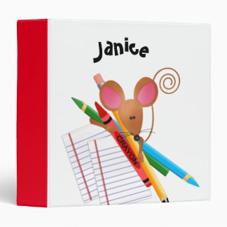 Little Mouse With Crayons and Lined Paper 3 Ring Binder