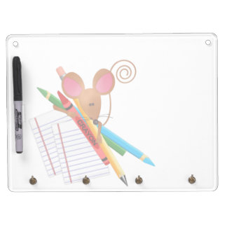 Little Mouse With Crayons and Lined Paper Dry Erase Board With Keychain Holder
