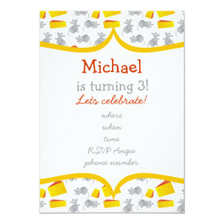 little mouses & cheese with yellow frame invites