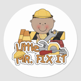 Little Mr. Fix It Construction Tshirts and Gifts Classic Round Sticker