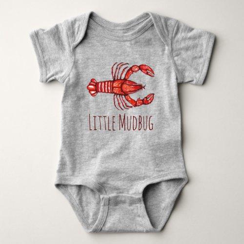 Little Mudbug Cajun Crawfish Baby Bodysuit