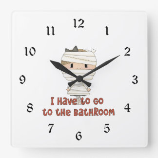 Little Mummy Have to Go to the Bathroom Halloween Square Wallclock