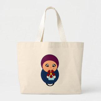 Little muslim girl purple hijab hijabi cartoon canvas bags