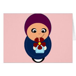 Little muslim girl purple hijab hijabi cartoon card