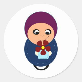 Little muslim girl purple hijab hijabi cartoon classic round sticker