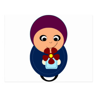Little muslim girl purple hijab hijabi cartoon postcard