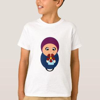 Little muslim girl purple hijab hijabi cartoon T-Shirt
