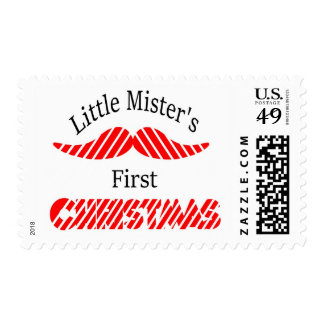 LIttle Mustache Baby Boys First Christmas Postage