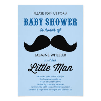 Little Mustache Baby Shower Invitations