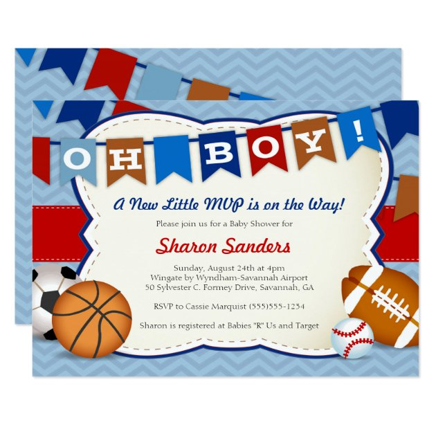 little mvp* sports themed baby shower invitation | zazzle, Baby shower invitations