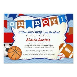 Sports Baby Shower Invitations Zazzle