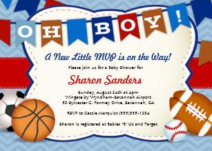 Little Mvp Sports Themed Baby Shower Invitation