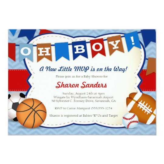little mvp sports themed baby shower invitation  zazzle, Baby shower invitations