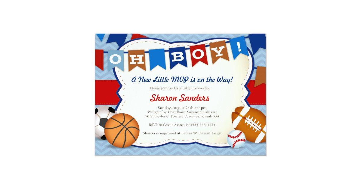 Little MVP* Sports Themed Baby Shower Invitation | Zazzle.com