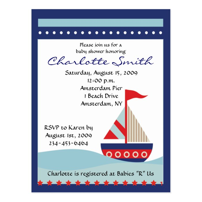 Little Navy Blue Sail Boat Baby Shower Invitation Postcard