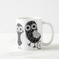 Little Newsprint Owls Coffee Mug