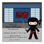 "Little ninja birthday theme 5.25"" square invitation card"