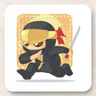 Little Ninja Holding Japanese Sword Coasters