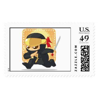 Little Ninja Holding Japanese Sword Postage Stamp