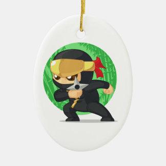 Little Ninja Holding Shuriken Ceramic Ornament