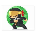 Little Ninja Holding Shuriken Post Card
