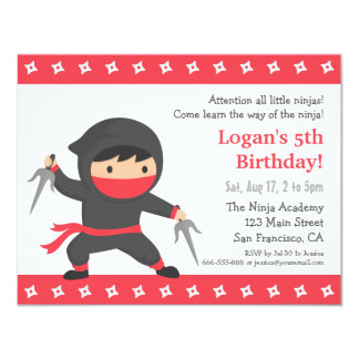 Little Ninja Kids Birthday Party Invitations