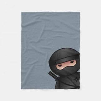 Little Ninja on Gray Fleece Blanket