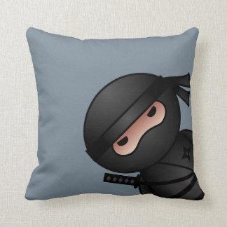 Little Ninja on Gray Throw Pillow