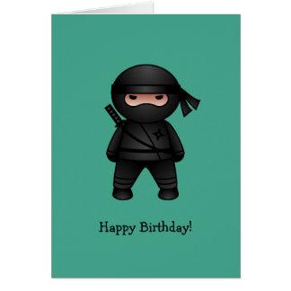 Little Ninja on Green Happy Birthday Card