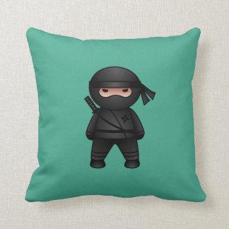 Little Ninja on Green Throw Pillow