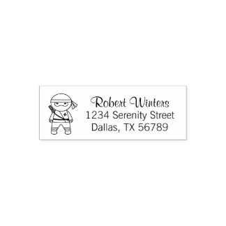 Little Ninja Warrior Address Self-inking Stamp