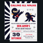 """Little Ninja Warrior Kids Birthday Party Invitation<br><div class=""""desc"""">Amaze your guests with this modern ninja theme birthday party invitation featuring cute little ninjas with eye-catching typography against a white background. Simply add your event details on this easy-to-use template to make it a one-of-a-kind invitation. Flip the card over to reveal an elegant starburst pattern on the back of...</div>"""