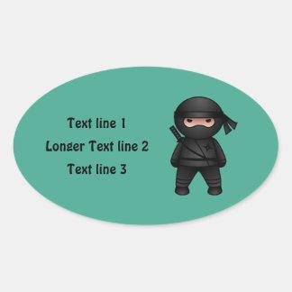 Little Ninja Warrior on Green Oval Sticker