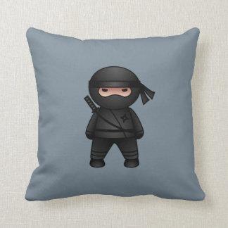 Little Ninja Warrior on Grey Throw Pillow