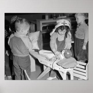 Little Nurse, 1943. Vintage Photo Poster