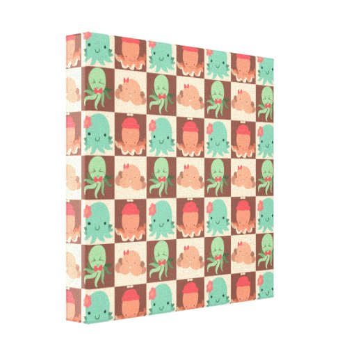 Little Octopuses Checkered Pattern Stretched Canvas Prints