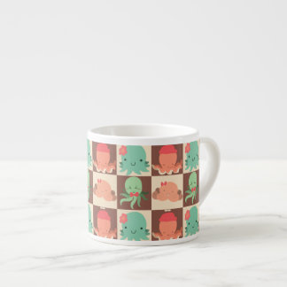 Little Octopuses Checkered Pattern Espresso Cup