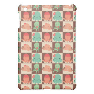 Little Octopuses Checkered Pattern iPad Mini Cases