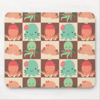 Little Octopuses Checkered Pattern Mouse Pad