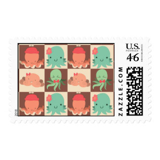 Little Octopuses Checkered Pattern Postage Stamp