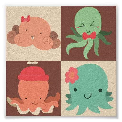 Little Octopuses Checkered Pattern Posters