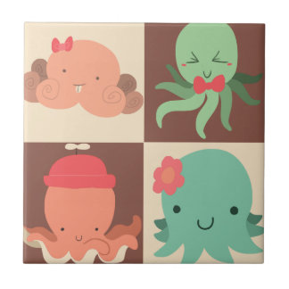 Little Octopuses Checkered Pattern Small Square Tile